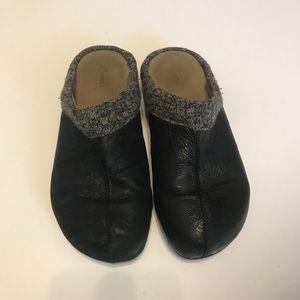 Aetrex Krista Cork Black Leather Clogs Sz 10